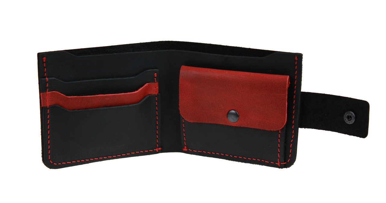 Кошелек женский кожаный маленький SULLIVAN kgm7(8) черно-красный