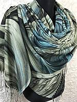 Женский оливково-зеленый палантин с красивым рисунком и бахромой, фото 1