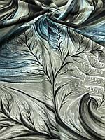 Женский оливково-зеленый палантин с красивым рисунком и бахромой - купить на Kosinka.net