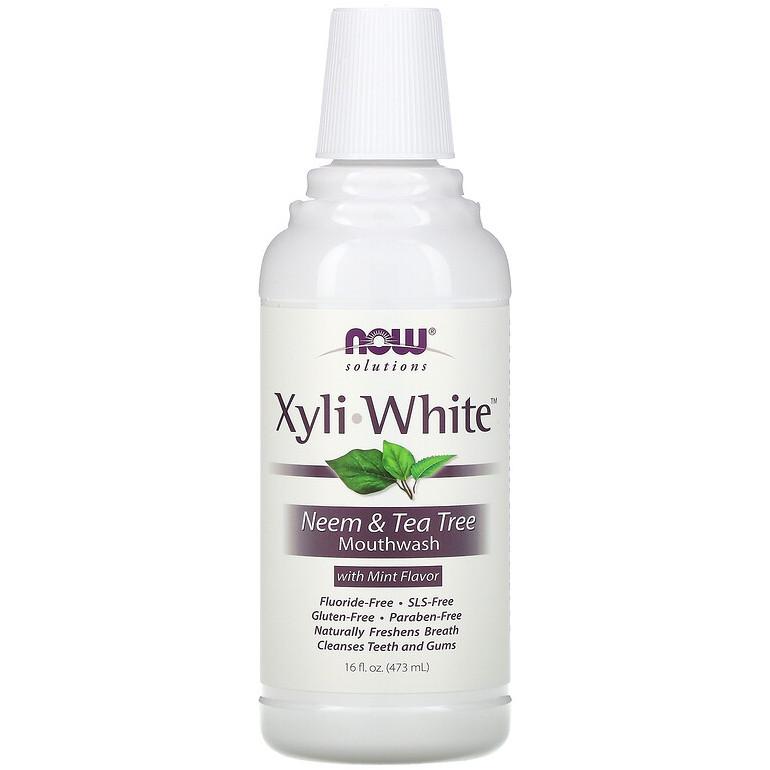 """Ополіскувач для порожнини рота NOW Foods, Solutions """"XyliWhite Mouthwash"""" смак ним і чайне дерево (473 мл)"""