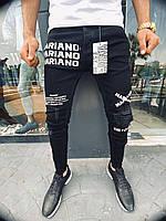Модные мужские весенне-осенние джинсы MN Jeans черные с белыми надписями - 29, 32, 33, 34, 36