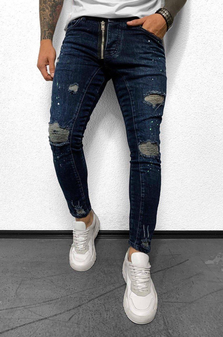 Рваные мужские осенне-весенние зауженные джинсы Black Island темно-синие