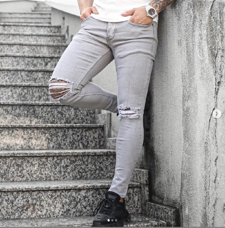 """Мужские зауженные джинсовые штаны Denim """"рваные"""" светло-серые"""