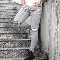 """Мужские зауженные джинсовые штаны Denim """"рваные"""" светло-серые, фото 1"""