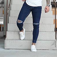Очень модные мужские зауженные джинсы Denim осень/весна синие