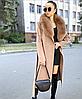 Довге тепле зимове пальто з хутряним коміром, фото 2