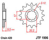 Звезда стальная передняя JT Sprockets JT JTF1906.12, фото 2