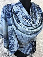 Женский голубой палантин с красивым рисунком и бахромой