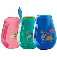 """Точилка """"Cool For School"""" Dolphin пластиковая с контейнером и клипом, 2 лезвия (24) №CF40668"""