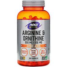 """L-Аргинин і L-Орнитин NOW Foods, Sports """"Arginine & Ornithine"""" підтримує білковий обмін (250 капсул)"""