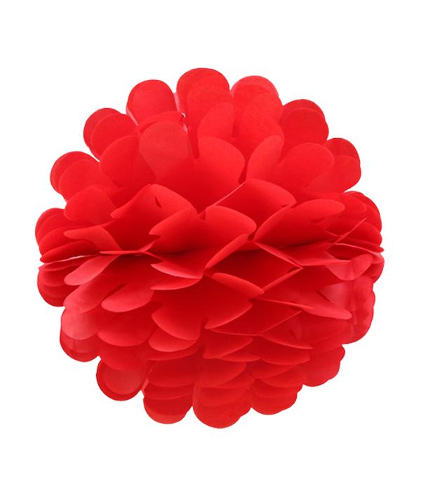 Бумажный шарик-пом-пон красный 30 см.