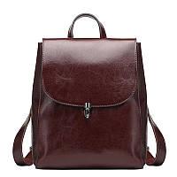 Женский стильный рюкзак-сумка темно-корчневый из натуральной кожи, фото 1