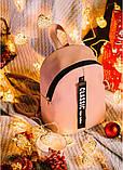 Стильный женский небольшой рюкзак городской, повседневный пудра (светло-розовый), матовая эко-кожа, фото 3