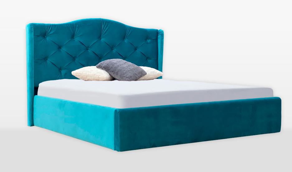 Кровать двуспальная с мягким изголовьем и подъемным механизмом Monika MiroMark