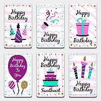 Открытки на день рождения Яркие 6 штук