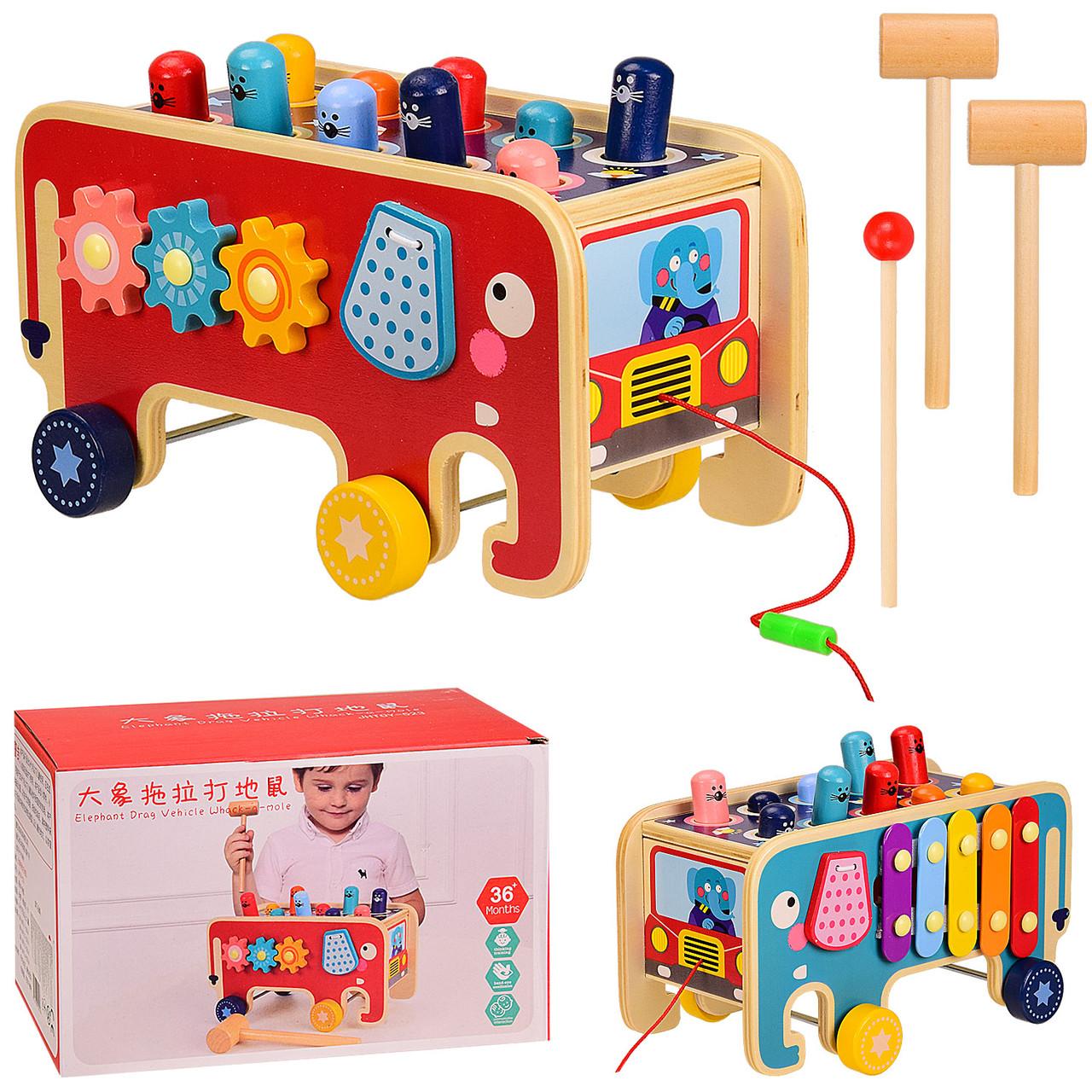 Деревянная игрушка Слон- каталка, стучалка, ксилофон, в коробке  J202