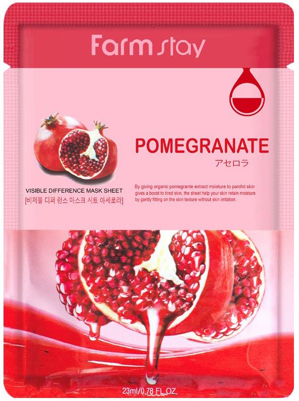 Тканинна маска з гранатом FarmStay Visible Difference Pomegranate Mask Sheet