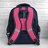 Школьный рюкзак анатомический с пеналом и светоотражателями для девочки 1 - 2 - 3 класс, сине-розовый портфель, фото 4