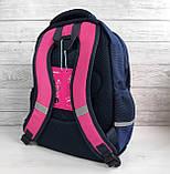 Школьный рюкзак анатомический с пеналом и светоотражателями для девочки 1 - 2 - 3 класс, сине-розовый портфель, фото 3