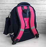 Школьный рюкзак анатомический с пеналом и светоотражателями для девочки 1 - 2 - 3 класс, сине-розовый портфель, фото 7