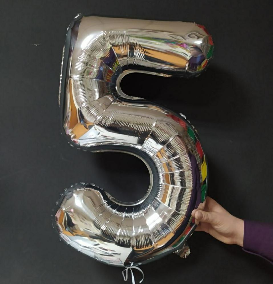 """Фольгированная цифра Slim STAR серебро """"5"""" 30 """"(76см) в упаковке"""