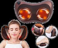Массажная подушка для спины и шеи Massage Pillow GHM 8028 - Роликовый массажер, массажер с подогревом