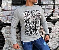 Стильный тёплый свитшот мужской на флисе серый