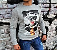 Стильный свитшот мужской на флисе серый с рисунком