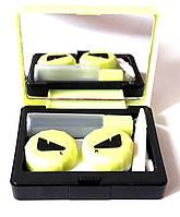 Дорожный полный набор для контактных линз с контейнером, пинцетом, бутылочкой, зеркалом, Глазки