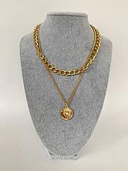 Двойная женская цепочка на шею, колье золотого цвета с кулоном монеткой