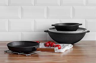 Сковорода-вок чугун cо стеклянной крышкой Optima 300 x 103 мм 4,7л W30-1 ТМ Brizoll, фото 3