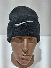 Зимняя теплая мужская шерстяная шапка Турция Темно-серая