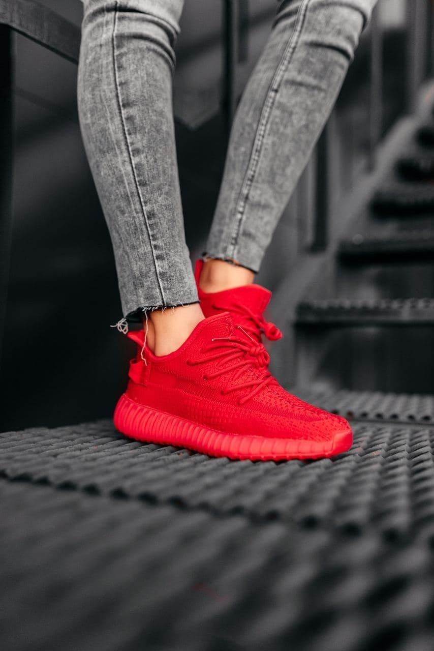 Кроссовки женские Adidas Wmns Yeezy Boost 350 V2 Red FX9041 Адидас Изи Буст (Non Reflective) Красные