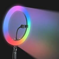Кольцевая лампа цветная 20см, Кольцевой свет 8 цветов, Селфи-лампа с держателем для смартфона, Кольцевая LED