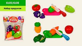 Овощи и фрукты 6105/6106 (1615803) 2 вида, дел. пополам, досточка, нож, в пакете 17,5*5*21,5см