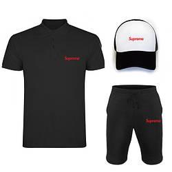 Мужской костюм тройка кепка поло и шорты Суприм (Supreme), летний мужской костюм, копия