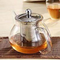 Заварочный стеклянный чайник с нержавеющим ситечком Kamille 800 мл на 4 персоны, фото 1