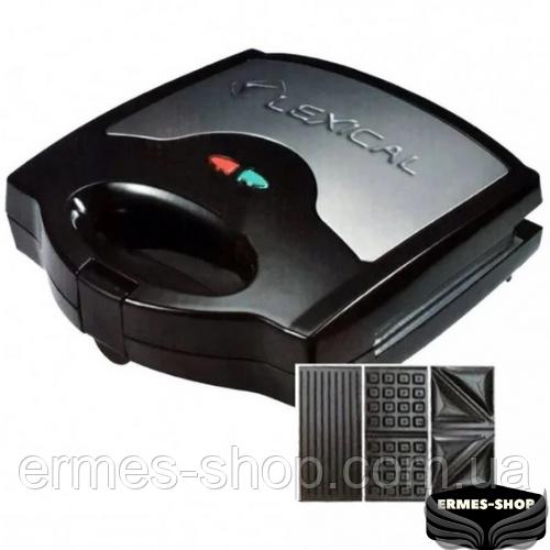 Электрическая сэндвичница 3в1 Lexical LSM-2504 | Бутербродница | Вафельница | 800W