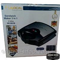 Электрическая сэндвичница 3в1 Lexical LSM-2504 | Бутербродница | Вафельница | 800W, фото 2