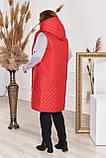 Прямая стеганая жилетка женская Плащевка на синтепоне Размер 48 50 52 54 56 58 60 62 64 66 В наличии 4 цвета, фото 2