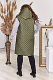 Прямая стеганая жилетка женская Плащевка на синтепоне Размер 48 50 52 54 56 58 60 62 64 66 В наличии 4 цвета, фото 4