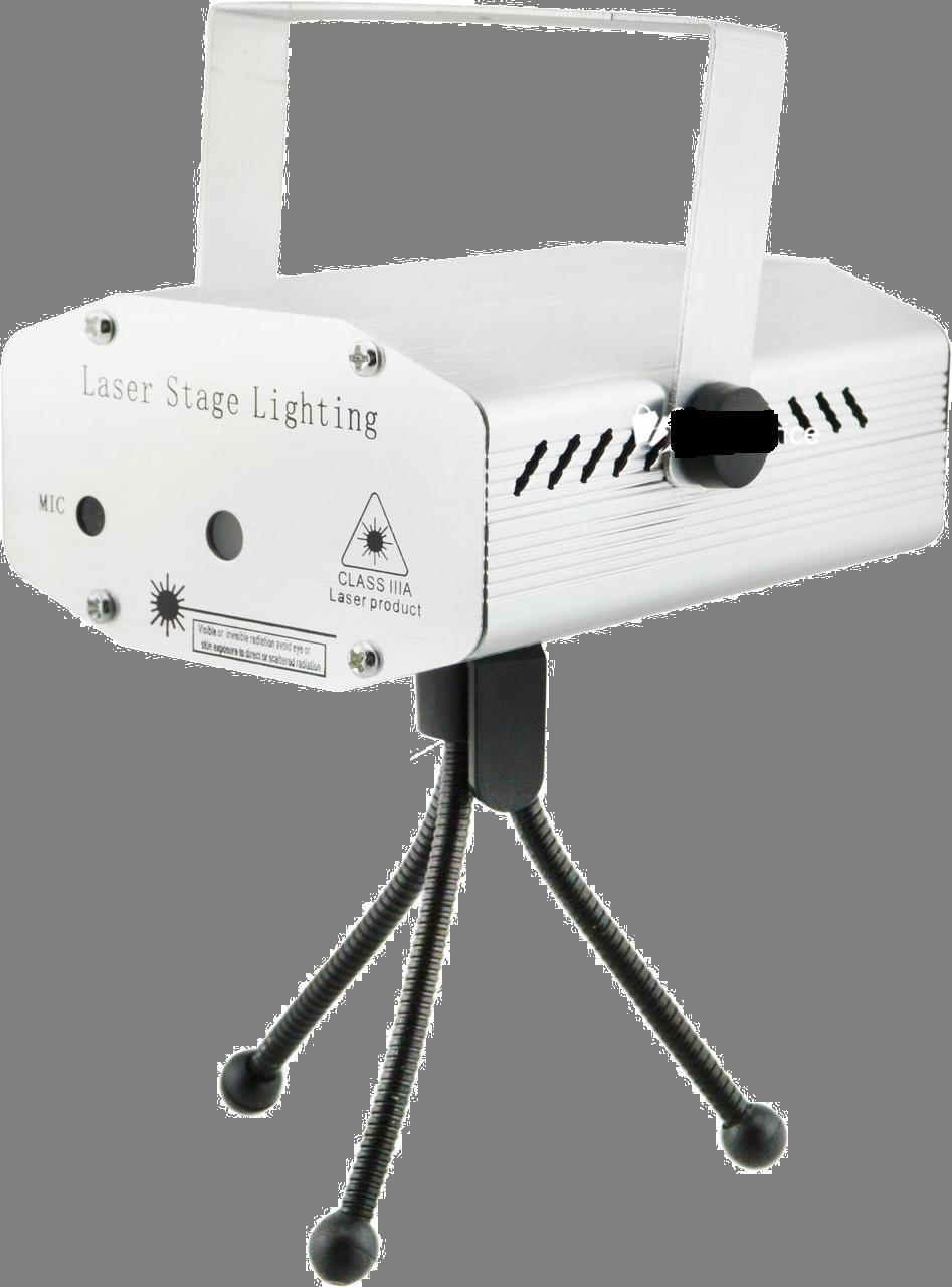 Лазерный проектор, стробоскоп, диско лазер UKC HJ08 4 в 1 c триногой Silver (4053)