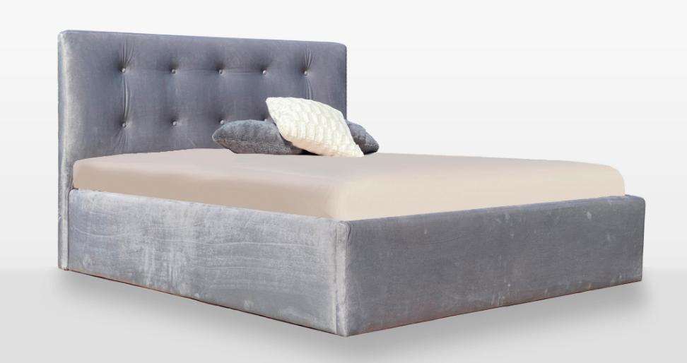 Кровать двуспальная с мягким изголовьем и без подъемного механизма Катрин MiroMark