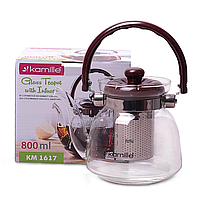 Стеклянный чайник для кипячения 800 мл Kamille