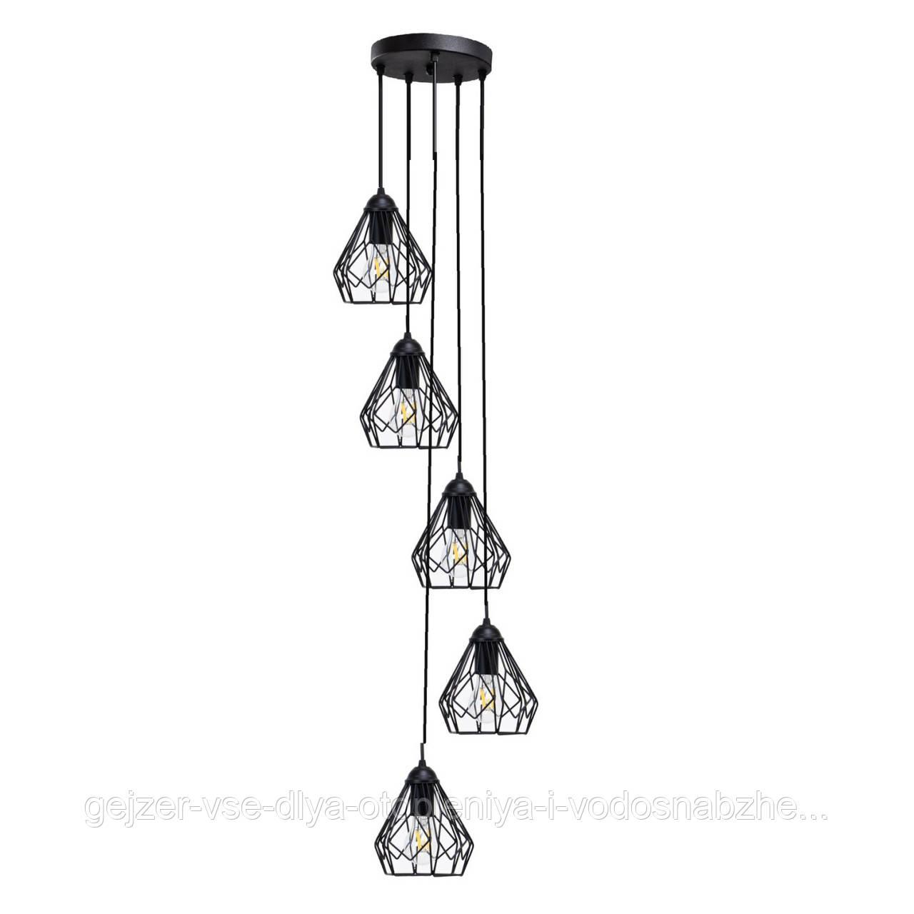 Потолочный подвесной светильник Atma Light серии Bevel 165-5-230 Black