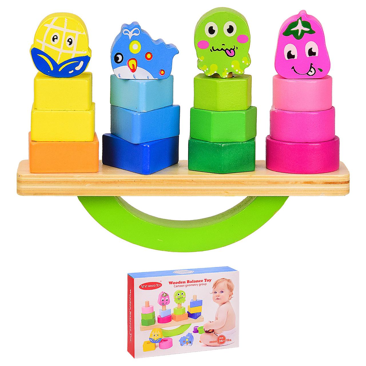 Деревянная игрушка баланс WOODEN BALANCE TOY, 4 пирамидки, в коробке VV211
