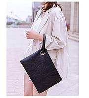 Сумка клатч-тоут черная большая на молнии женская искусственная кожа с полиуретановой обработкой универсальный