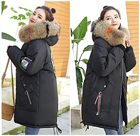 Молодёжная женская стильная зимняя куртка парка с манжетом капюшон с цветным мехом р.44-46