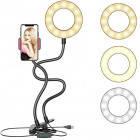Держатель для телефона с LED подсветкой кольцо на прищепке для прямых трансляций чёрный