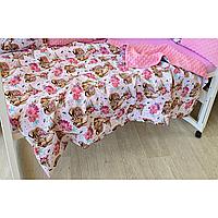 """Теплый плед на выписку или в кроватку, коляску """"Лесные истории"""" 75*95 см, розовый плюш, фото 1"""